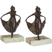 Excellent Collectors Set of Antique Art Nouveau Bronzed Curtsying Maiden Bookends C. 1880-1920