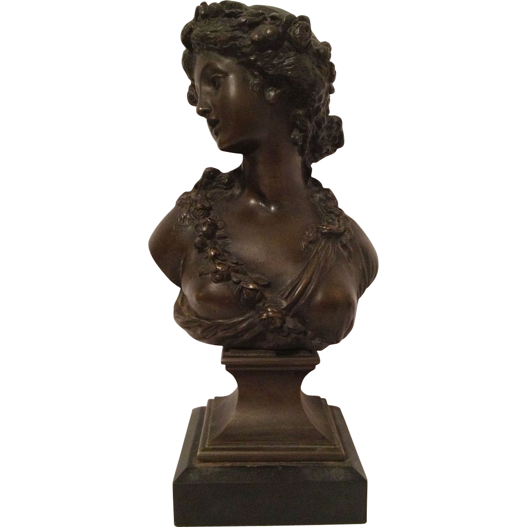 "Superb Antique Bronze French Bust of ""A Young Girl"" after JOSEPH CHARLES MARIN"