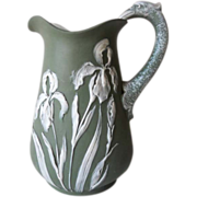 Superb Antique Art Nouveau Judgendstil Bisque Iris Floral Pitcher C. 1890 - 1920