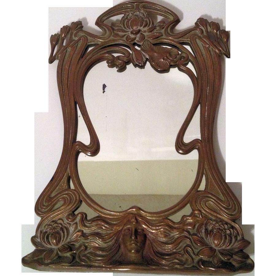 Beautiful Vintage French Art Nouveau Maiden Vanity Mirror