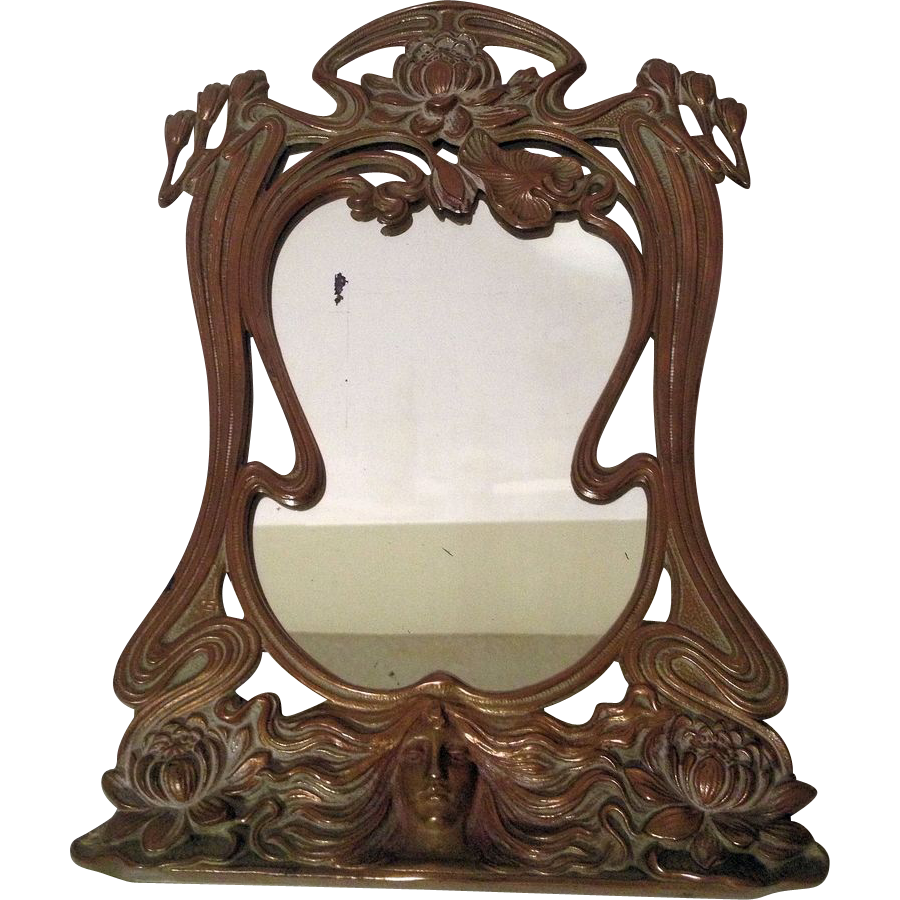 beautiful vintage french art nouveau maiden vanity mirror
