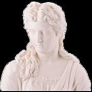 Exquisite Antique Parian Bisque Bust of Maiden C. 1850-1890