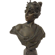 Beautiful Large Antique Bronzed Bust of LUCRECE After E. Villanis C. 1900