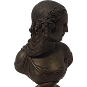 Beautiful Rare Antique Victorian Bronzed Bust of Classical Maiden on Wooden Plinth C. 1837-1901