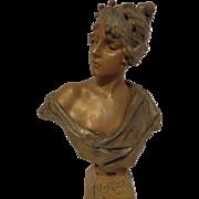 Beautiful Antique Cast Metal Bust of LUCRECE by E. Villanis