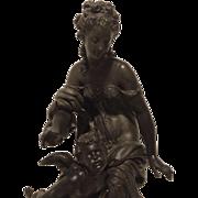 Fine Antique Victorian - Art Nouveau Sculpture of Venus and Cupid in Rare Study by Maturin Moreau C. 1880-1900