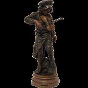 """Exquisite Antique French Victorian / Art Nouveau Era Heavily Bronzed Sculpture """"LULLI"""" after A. E. Gaudez C. 1890-90"""