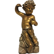 Delightful Vintage Seated Cherub or Putti Statue