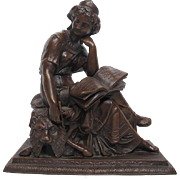 Exquisite Antique Victorian Art Nouveau Bronzed Sculpture of Seated Muse with Book After Mathurin Moreau C. 1880-1910