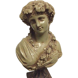Fine Rare Antique French Victorian or Art Nouveau bust of a Classical Greek Bacchante  C. 1880-1910