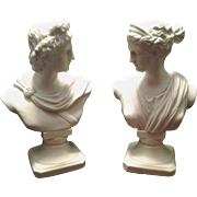 Exquisite Vintage English Parian Bisque Busts of Apollo and Diana