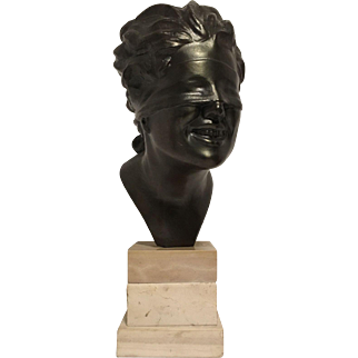 Very Nice Vintage Italian Metal Bust of Blind Hero on Triple Tiered Marble or Stone Plinth - Artist Signed