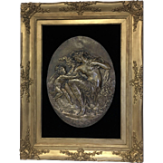 Exquisite Large Antique Bronze Plaque by Jean Bapiste Germain C. 1868