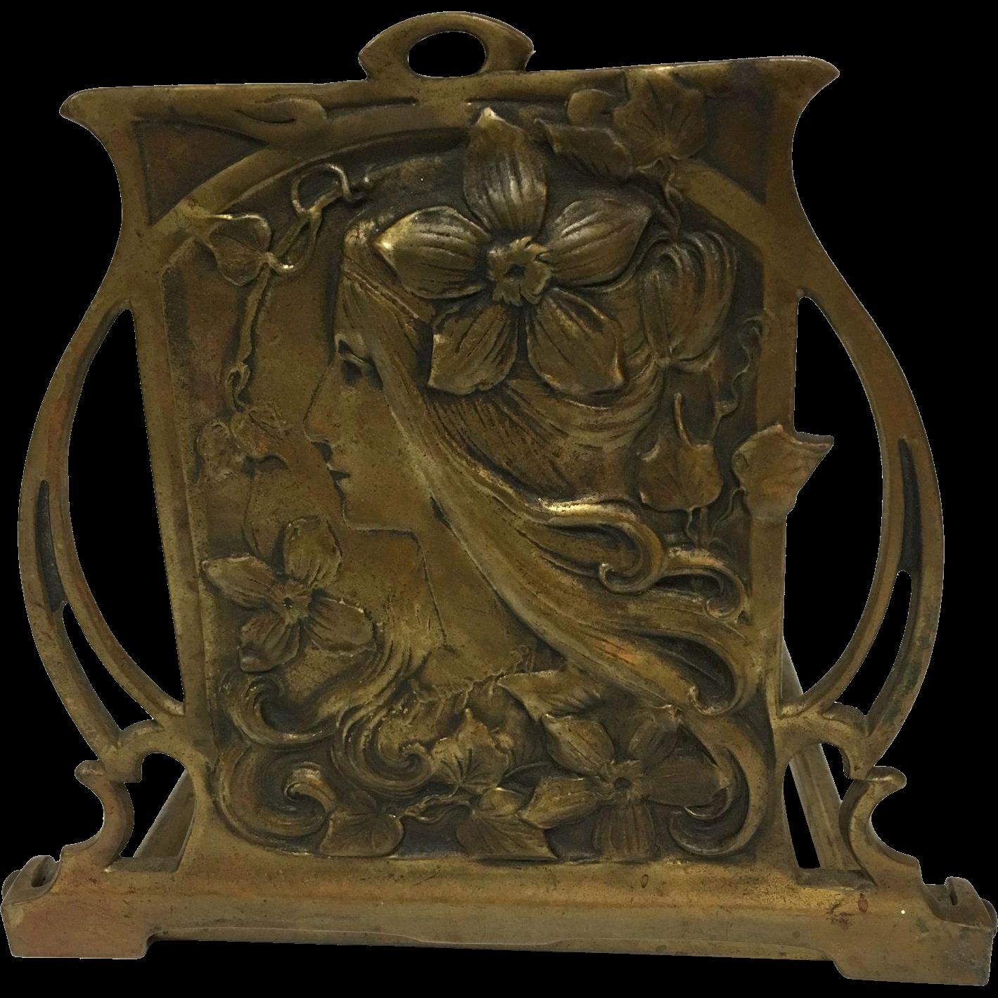 Paris Porcelain Art Nouveau Period Lamp Chinese Taste: Exquisite Large Antique French Bronzed Art Nouveau Maiden
