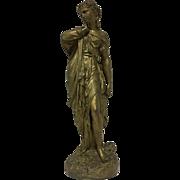 Antique French Victorian - Art Nouveau Cast Metal Statue of Greek Goddess Venus C. 1850-1910