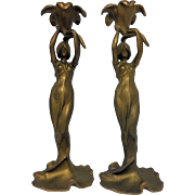 Antique French Art Nouveau Water Nymph Candlestick Holders C. 1890-1910