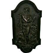 Beautiful Antique French Bronzed Plaque of Hercules Defeating King Diomedes in Classical Form C. 1850-1900
