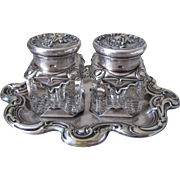 Superb Antique French Art Nouveau Silver-Plated Cherub Putti Dual Inkwell C. 1897