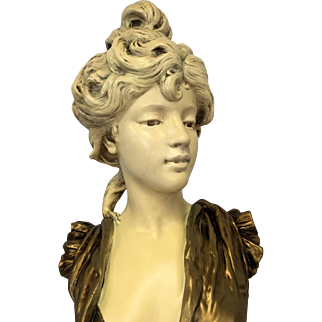 Magnificent Large Rare Antique French Art Nouveau Plaster and Gesso Bust of Parisian Woman C. 1880-1910