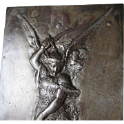 Wonderful Antique Victorian Plaque of Archangel Michael Slaying Satan C. 1860-1900