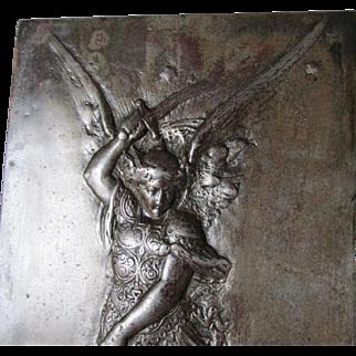 Wonderful Antique Victorian Plaque of Archangel Michael Slaying Satan C. 1860-1900