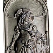 Superb Antique Plaque of Renaissance Woman by Gustav Grohe Signed C. 1850-1900