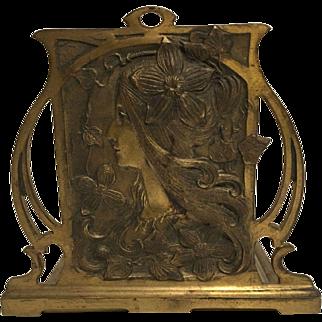 Exquisite Antique Bronzed French Art Nouveau Maiden Bookrack Mucha Style C. 1900-1910