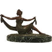 Exquisite Vintage French Art Nouveau Art Deco Scarf Dancer on Marble Base C. 1890-1920