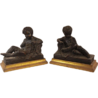 Exquisite Set of Vintage French Terracotta Putti or Putto Statues on Gold Gilded Bases
