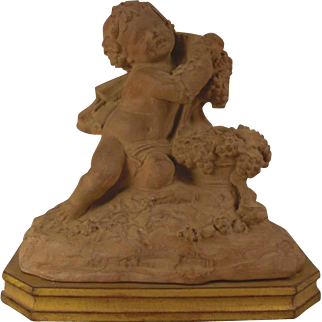 Superb vintage French terracotta statue of a young Bacchus or Dionysus on a gold gilded base - Signed Clodion