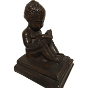 Exquisite Rare Antique Art Nouveau Era Bronze Statues of Child Reading On Books by Kathodian Bronze Works C. 1915