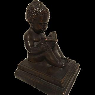 Exquisite Rare Antique Art Nouveau Era Bronze Statues of Child Reading On Books by Kathodian Bronze Works C. 1915