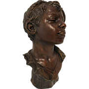 Exquisite Extremely Rare Antique Terracotta Bust of a Neapolitan Street Urchin C. 1900-1915