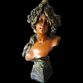 Exceptional Antique French Art Nouveau Plaster Bust of L'AUTOMNE or Autumn C 1890-1900
