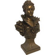 Exquisite Rare Large Gilded Bronzed Bust of Elizabethan Lady by French sculptor Hippolyte François Moreau - Signed 1880