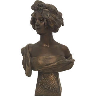 Exquisite Large Antique French Art Nouveau Patinated Metal Bust of a Lady of the Evening or LA MONDAINE. C. 1880-1900