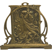 Exquisite Rare Large Antique French Art Nouveau Bronzed Mucha Style Water Nymph Book-Rack C. 1900-1910