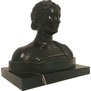 Exquisite Bronze Bust of Classical Greek or Roman Goddess C, 1890-1910