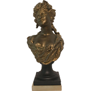 Exquisite Large Victorian Era Gilded Portrait Bust of Marie Antoinette C. 1860-1900