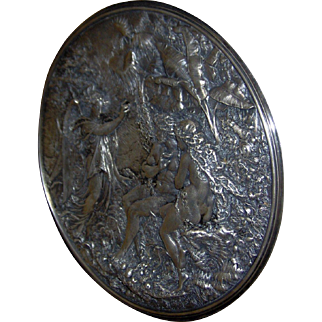 Gorgeous Large Antique Victorian English High Relief Silver on Copper Plaque of Adam and Eve in the Garden of Eden by George Elkington C. 1870