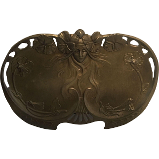Gorgeous Gilded Bronze Over Brass Art Nouveau Water Nymph Calling Card or Trinket Tray