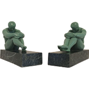 Wonderful Rare Set of Art Deco Era Nude Neo-Classical Males on Faux Marble Bases C. 1900-1940