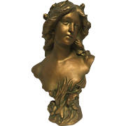 Stunning Large Rare French Gilded Art Nouveau Era Water Nymph Bust C, 1880-1020