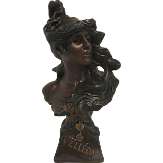 Superb Stunning Rare Antique Art Nouveau Bust of Velleda by Alfred Jean Foretay C. 1900