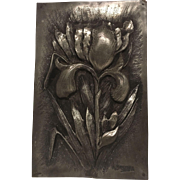"Superb Extremely Rare Antique French Art Nouveau Pewter Iris Plaque. Signed ""A. BARBIER"" C. 1880-1900"