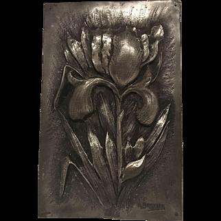 "Superb Extremely Rare Antique French Art Nouveau Pewter Iris Plaque. Signed ""A. BARBIER"" C. 1880-1900"