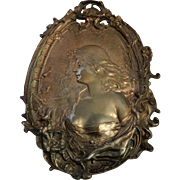 Gorgeous Large Antique French Art Nouveau High Relief Bronzed Plaque of a Water Nymph. Unmarked – Unsigned. C. 1870.