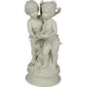 Exquisite Antique or Vintage Parian Grouping of Two Cherubs in a Grape Harvest Theme
