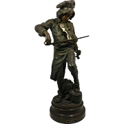 """Exquisite Antique French Bronzed Sculpture of LULLI """"Musician""""  by Adrien Etienne Gaudez (1845-1902) """"LULLI"""" to front title plate. C. 1890-1910"""