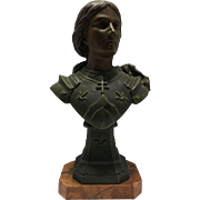 "Antique French Victorian Bust of Joan of Arc by Jean Baptist Defer (1647-1714) Signed ""Defer"" to Verso. C. 1880-1900."
